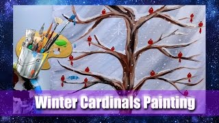 How to Make a WINTER, Cardinals Acrylic Painting Tutorial- @dramaticparrot