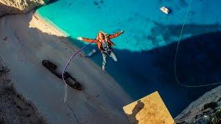 600 foot Insane Rope Swing over SHIPWRECK!!! - in Greece in 4K! | DEVINSUPERTRAMP