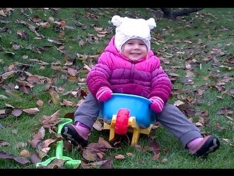 Cute Baby Girl Enjoying Funny Wheelbarrow Sound Outdoor ✔