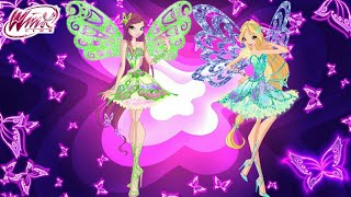 Winx Club: Roxy and Daphne full Butterflix transformations! (Exclusive!) English HD.