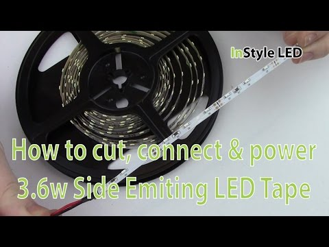 LED Strip Lights - How to cut, connect & power 3.6w Side Emitting LED Tape