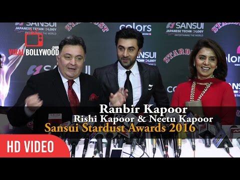 Ranbir Kapoor, Rishi Kapoor and Neetu Kapoor at Sansui Stardust Awards 2016