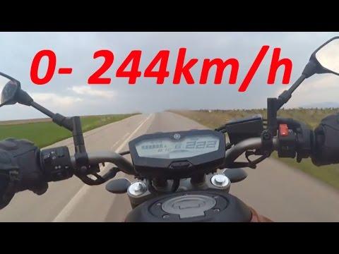 Yamaha MT-07 or FZ-07 - Acceleration 0-244km/h & Startup & Exhaust Sound & Burnout & Wheelie
