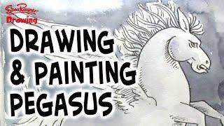 Drawing & Painting Pegasus in Watercolor