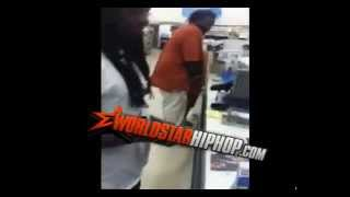 Girl gets slap by crazy black man and falls fast !