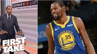 Stephen A. gives his top 5 teams Kevin Durant should go to in free agency | First Take