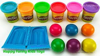 Learn Colors and Making Ice Cream Popsicle with Play Doh Balls Surprise Toys Shopkins Mini Packs
