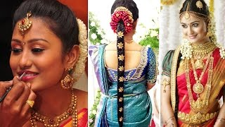 South Indian Bridal Saree Draping with Bridal Makeup and Bridal Hairstyle Tutorial | Marriage Makeup
