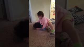 Little sister picking on big sister😂😂😂