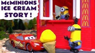 Minions McDonald's Drive Thru Ice Cream Prank with Cars McQueen & Thomas Toy Train Learn Colors TT4U