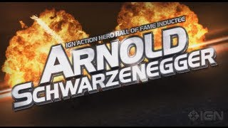 (CROWD REACTION FOR) Arnold Schwarzenegger Highlight video- IGN Action Hero Hall Of Fame