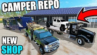 REPOING CAMPERS + CRAZY GUY CHASES US DOWN TO THE REPO SHOP | FARMING SIMULATOR 2017