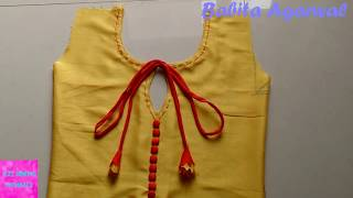 kurti front neck design cutting and stitching   how to make simple neck with buckram in kurti