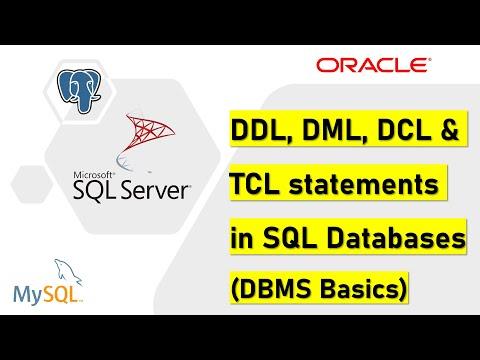 DDL, DML, DCL & TCL statements in SQL (Database basics)