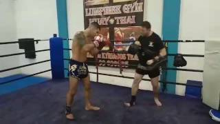 Muay Thai Pads with my coach!!Preparing for my next fight!!
