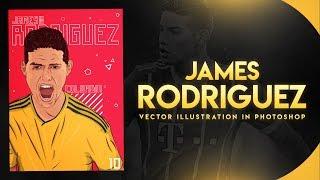 Photoshop- James Rodriguez Vector Illustration In Photoshop | Speed Art | GD Design