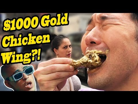 MUKBANG $1000 Gold Chicken Wings vs $5 Chicken Wings FOOD CHALLENGE!! - BAD BUNNY IN PUBLIC!!