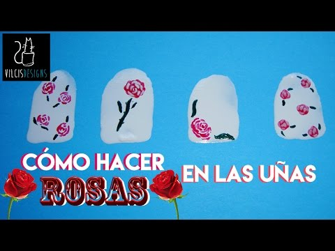 Cómo crear rosas flores en las uñas How to create roses flowers on your nails