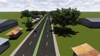 3D visualization Gopalganj police line to Ghonapara portion of Tekerhat- Gopalganj road