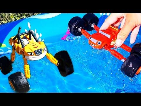 Blaze & Moster Trucks. Monter Truck Toys. Meeting Lightning McQueen. Review of kids' toys