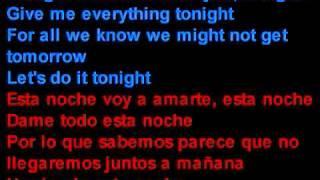 Pitbull feat. Ne-Yo - Give Me Everything - Letra en español y inglés en la pantalla