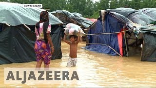 Rohingya refugees struggle to survive torrential rains in Bangladesh