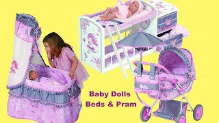 Baby Dolls Nursery Centre Dolls Cradle, Bed with Care Center and Pram with Umbrella -Unboxing Play