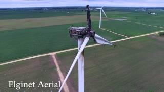 Wind Turbine after fire in Sublette, Illinois - 4K