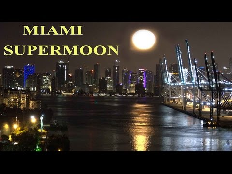 Miami Supermoon - Stunning View From Cruise Ship 12 Nov 2016 4K
