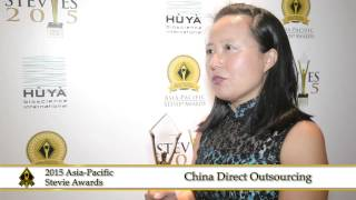 China Direct Outsourcing share a few words at the 2015  Asia Pacific Stevie Awards.