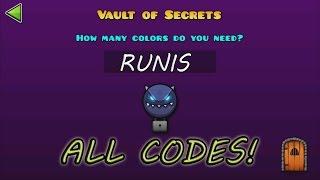 Geometry Dash WORLD :The Vault Of Secrets - ALL SECRET CODES!! / TODOS LOS CÓDIGOS