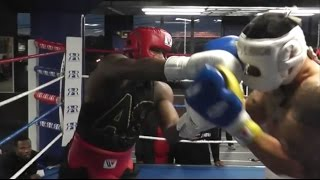 (WOW) ADRIEN BRONER LETS HANDS GO AND LIGHTS UP SPARRING PARTNER DURING INTENSE SESSION [HD]