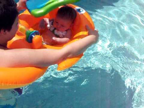 India, 6 weeks old in Grandma and Grandpa's Pool
