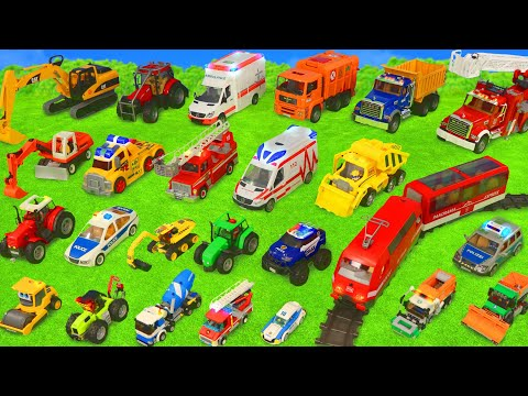 Fire Truck Tractor Train Police Cars Garbage Trucks & Excavator Toy Vehicles for Kids