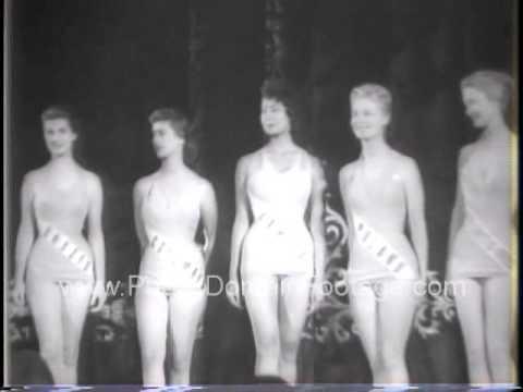 Miss Universe with 36-24-36 measurements 1958 archival footage PublicDomainFootage.com