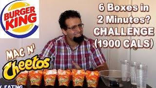 Burger King Mac 'n Cheetos Challenge - 6 Boxes in 2 Minutes? | FreakEating vs World