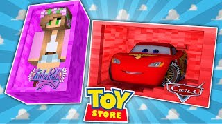 Minecraft TOYSTORE : LIGHTNING MCQUEEN FIGHTS DINOSAURS! w/LittleKelly,Carly & TinyTurtle (Roleplay)
