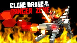 Defeating Robot Dinosaurs in the Flame Raptor Challenge -  Clone Drone in the Danger Zone Gameplay