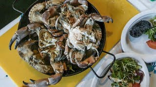 Seafood, Oysters, Crabs and Octopus on Grill. Warsaw Street Food, Poland