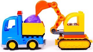 Excavator Dump Truck Building Blocks Learn Colors for Kids with Toys