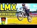LMX insane POWEEEER full throttle with slick tire on grass! Lightweight Freeride Electric Motorcycle