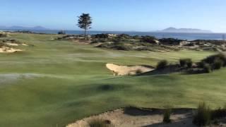 The par 5 closing hole at Tara Iti GC, New Zealand