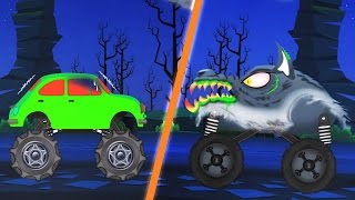 werewolf monster truck attacks | scary monster trucks for children