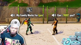 I made a 7 year old kid believe I Work for Fortnite by giving him FREE Vbucks... BEST REACTION EVER