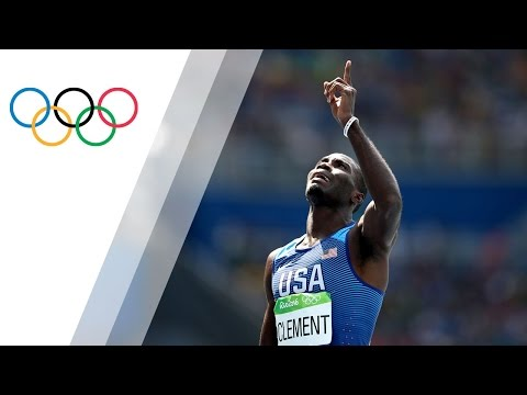 The USA's Clement wins his first gold in Men's 400m Hurdles