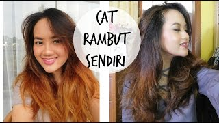 TUTORIAL CARA CAT RAMBUT SENDIRI DI RUMAH w/ Full Proses | DIY Dye Hair Ashy Color - Darken my Ombre