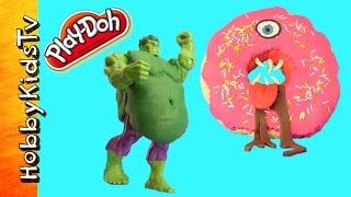 Hulk Play-doh Monster Doughnut Surprise Toys HobbyKidsTV