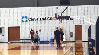 LeBron James, Dwyane Wade and Isaiah Thomas work together after practice