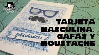 Tarjeta masculina fácil y simple : gafas y moustache