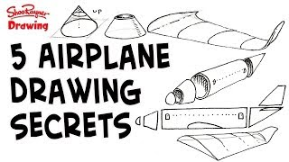 How to draw Airplanes - Five Amazing Secret Shapes - Step by step